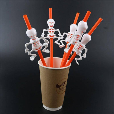 5Pc Halloween Skeleton Straws