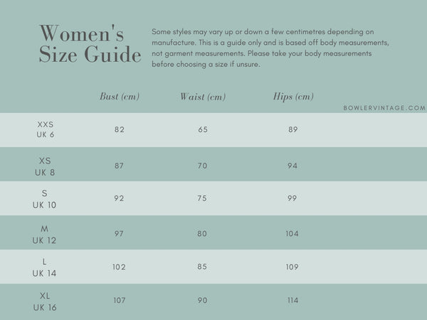 Women's size guide | Bowler Vintage