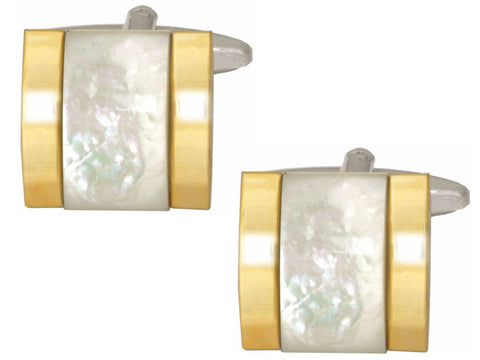 Mother of Pearl Raised  Gold Plated Sides  Cufflinks - Bowler Vintage
