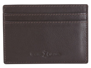 Brown Leather RFID Lined Slim Card Holder - Bowler Vintage