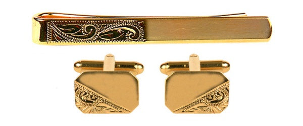 Third Engraved Gold Plated Cifflinks and Tie Slide Set