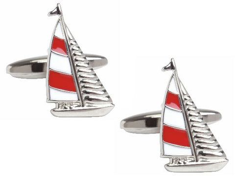 Red and White Yacht Rhodium Plated Cufflinks