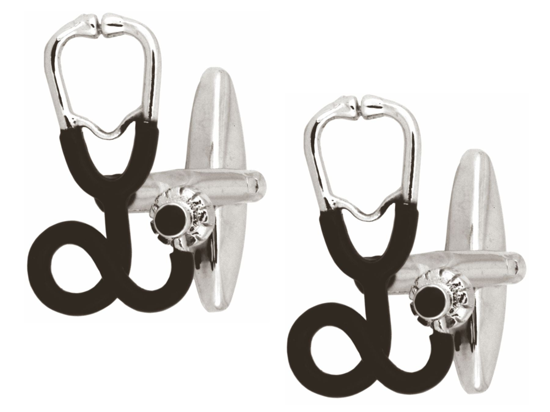 Stethoscope Rhodium Plated Cufflinks with black detail
