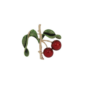VINTAGE CHERRY BRANCH BROOCH