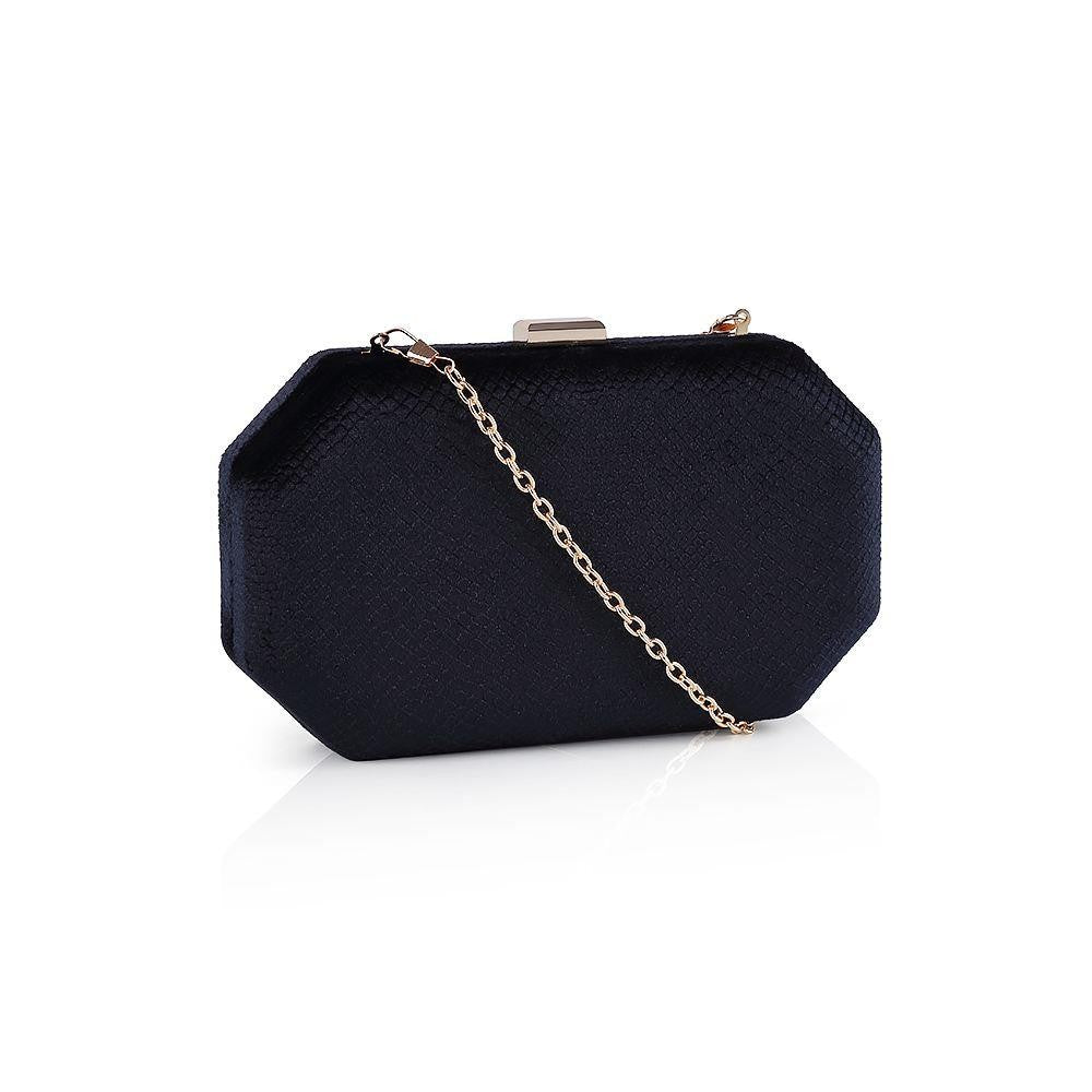 Textured Velvet Angled Box Bag