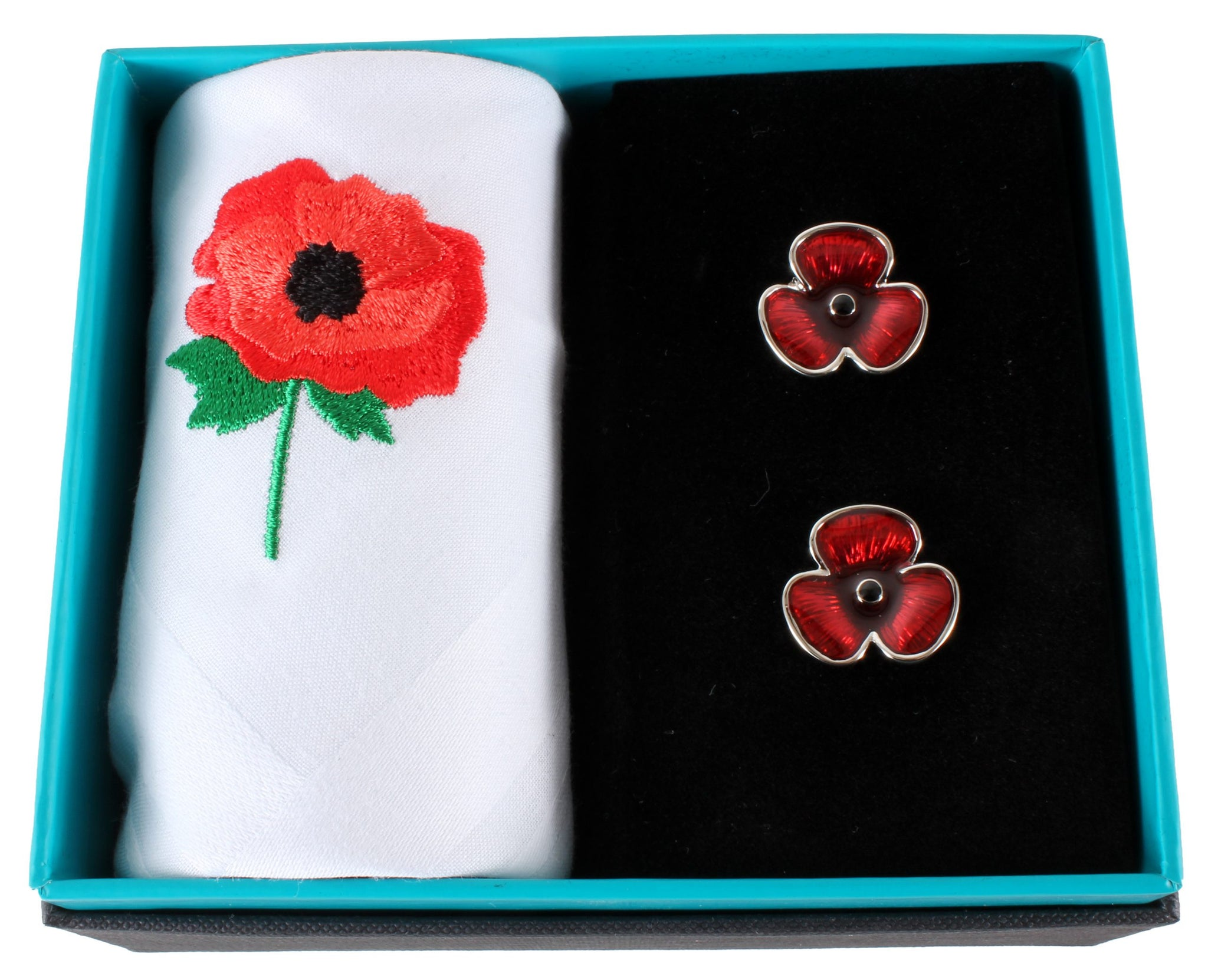 Poppy Handkerchief and Cufflink Set