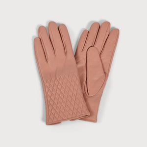 Leather Quilted Gloves - Pink
