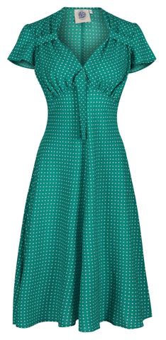 Pretty 40s Tea Dress - Emerald Polka Dot