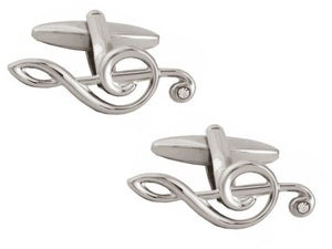 Treble Clef with Crystal Rhodium Plate Cufflinks