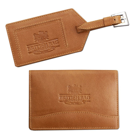 Luggage Tag and Passport Cover set - Tan