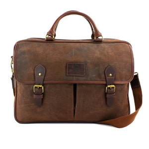 The Navigator Brown Waxed Canvas Briefcase
