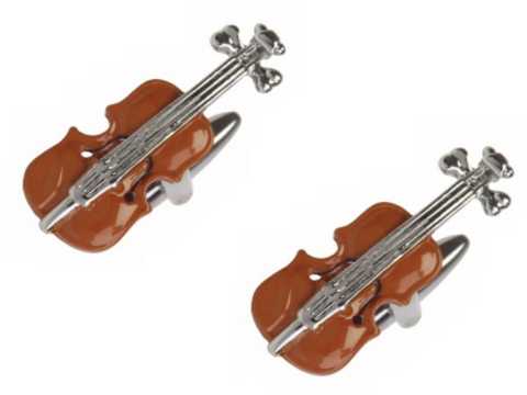 3D Violin Rhodium Plated Cufflinks - Bowler Vintage