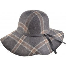 Wide Brim Check Wool Hat