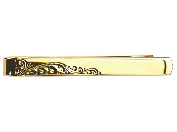 Half Engraved Leaf Design Gold Plated Tie Slide - Bowler Vintage