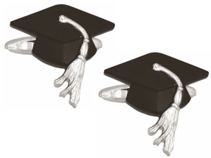 Graduation Cap Rhodium Plated Cufflinks - Bowler Vintage