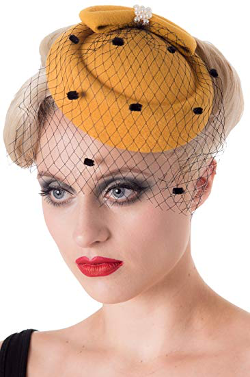 Judy Pillbox Hat - Mustard - Bowler Vintage