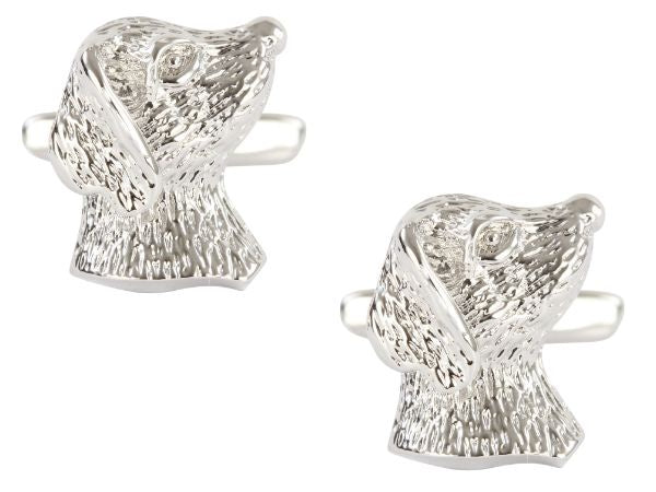 Dog's Head Rhodium Plated Cufflinks