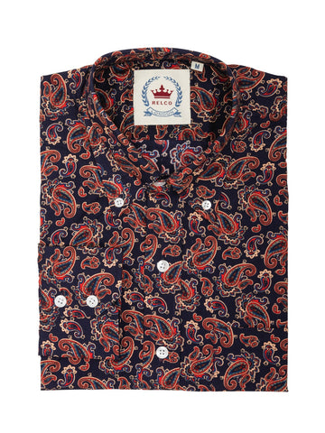 Navy and Red Paisley Shirt - PS 18 - Bowler Vintage
