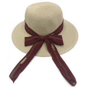 Natural Straw Hat with Scarf - Bowler Vintage