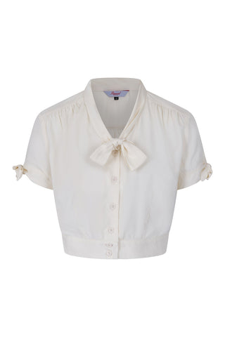 Pussy Bow Cropped Blouse