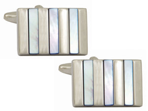 Blue Mother of Pearl Striped Rhodium Plated Cufflinks - Bowler Vintage