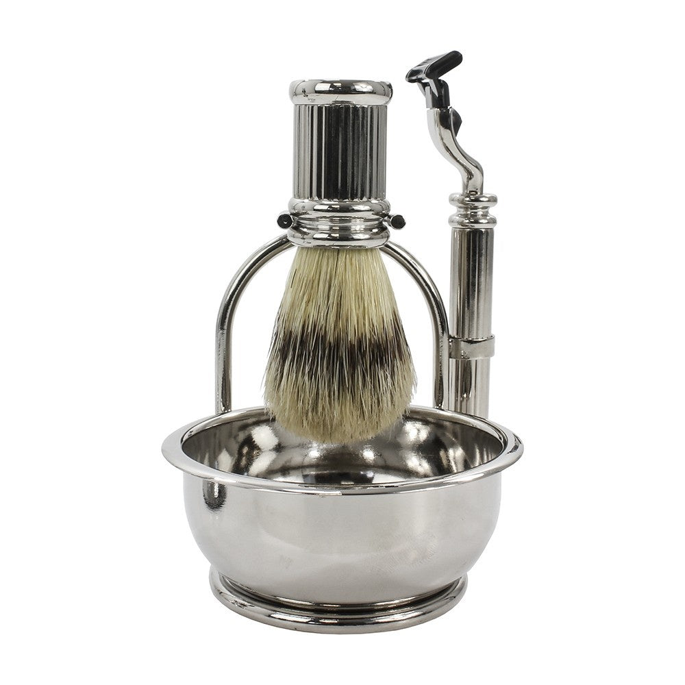 Silver Shaving Set with Bowl