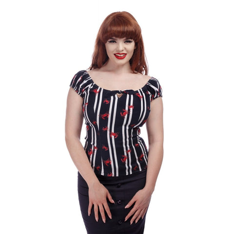 Lorena Top - Crabs And Stripes - Bowler Vintage