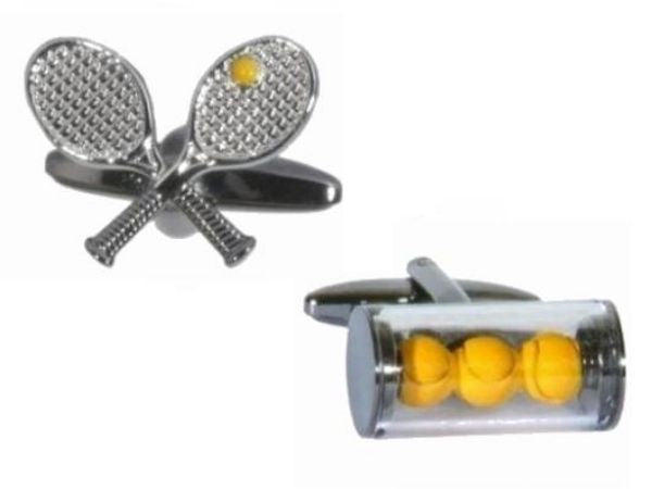 Tennis Racket & Balls Gunmetal Plated Cufflinks