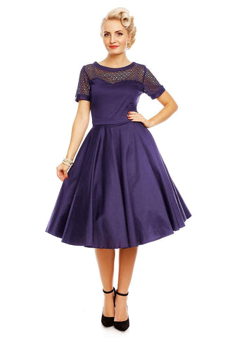 Tess Lace Embroidered Dress - Navy - Bowler Vintage