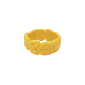 Carrie Carved Bangle - Yellow Leaves - Bowler Vintage