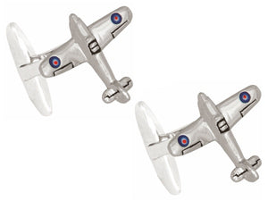 3D Hurricane Aircraft Rhodium Plated Cufflinks - Bowler Vintage