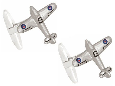 3D Hurricane Aircraft Rhodium Plated Cufflinks