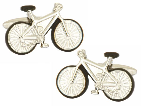 Bicycle with black trim Rhodium Plated Cufflinks - Bowler Vintage