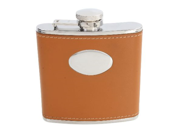 Hip Flask Brown with Engraving Oval 5oz - Bowler Vintage