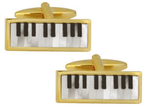 Piano  Mother of Pearl & Onyx Gold Plated Cufflinks
