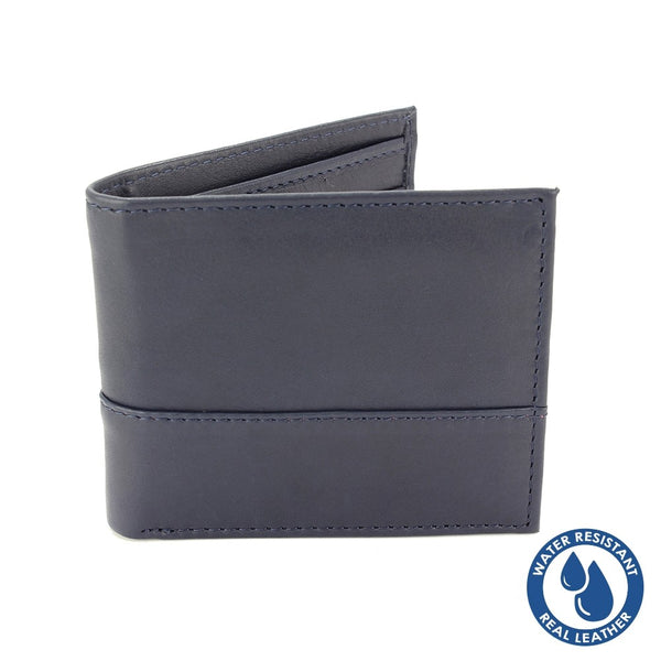 Water Resistant Leather Wallet Navy