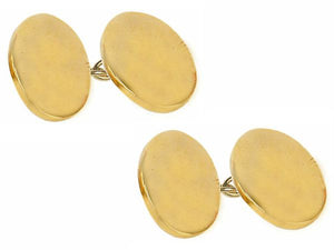 Plain Double Oval Gold Plated Chain Cufflinks