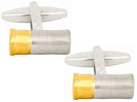 Gun Cartridge Gold annd Rodium Plated Cufflinks - Bowler Vintage