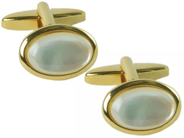 Mother of Pearl Oval Cufflinks - Bowler Vintage