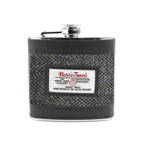Grey/Blue Herringbone Hip Flask