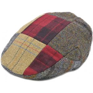 Patched Tweed Flat Cap Red