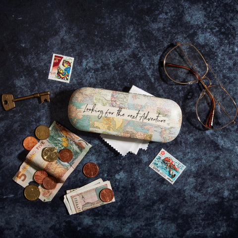 Vintage Map Collage Glasses Case