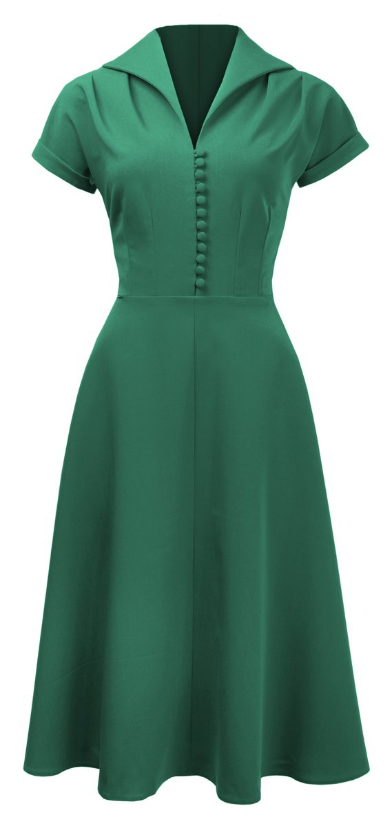 Pretty 40s Hostess Dress - Emerald - Bowler Vintage