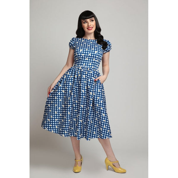 DEMIRA GINGHAM DAISY SWING DRESS