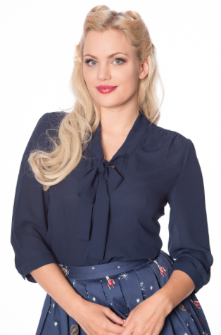 Perfect Pussy Bow Blouse - Navy