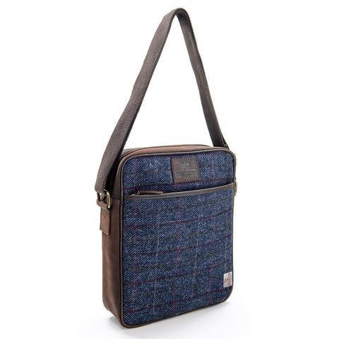 Large Allasdale Harris Tweed Leather Cross Body Bag