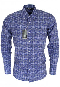 Blue Paisley Long Sleeved Shirt - Bowler Vintage