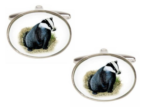 Badger Image Oval Rhodium Plated Cufflinks - Bowler Vintage