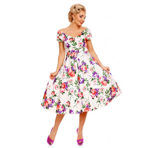 Lily Off Shoulder 50's  Dress in White - Bowler Vintage