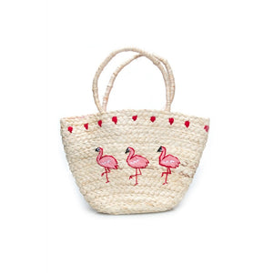 EMBROIDERED FLAMINGO BASKET BAG - Bowler Vintage